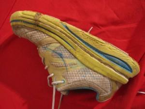 Left shoe inside side view crack near toe