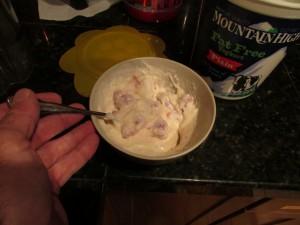 Protein Yogurt with fresh raspberries. Eat it up!
