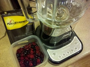 breakfast shakes with FullStrength and raspberries