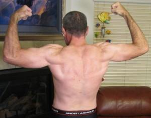 My back bicep pose