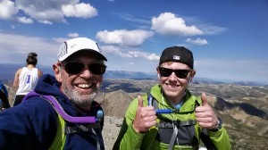 Happy to be on top. Todd Gilles and Charles Miske after climbing Kelso Ridge on Torreys