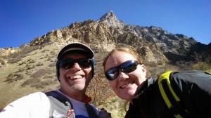 Charles Miske and Jen Hamilton below Squaw Peak overlooking Provo Utah