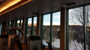 The view from the row of Cybex Equipment at the Breckenridge Recreation Center