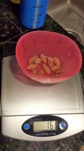 100 calories of salted almonds is not a lot of almonds