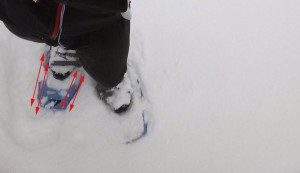 Running in MSR Snowshoes with overlapping grooves shown