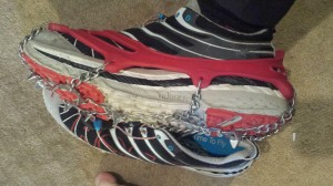 Trail running microspikes by Kahtoola on my Hoka One One Stinson EVO shoes