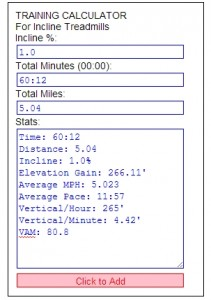 Incline Treadmill Calculator Results from my Training Session