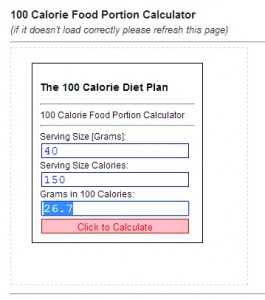 100 calories of oats is 26.7 grams. My scale doesn't do decimals, so it's 26 gm.