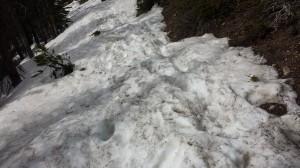 Knee deep post holing tracks on Mount Royal snowcone snow
