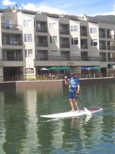 stand up paddle board below the condos at Keystone