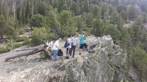 Hiking group at the saddle on Mount Royal in Frisco, CO