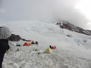 Camp Schurmann at the foot of the Corridor on the Emmons Glacier