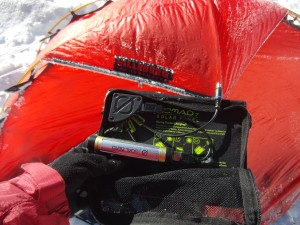 Goalzero Solar keeping my Suunto Ambit 2S and my Galaxy S4 both charged at base camp on Rainier