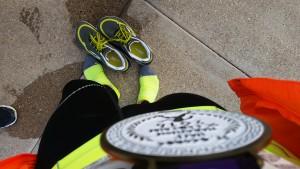Feetures Max Cushion Elite at the finish of the St. George City Half Marathon