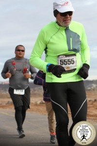 Suunto Ambit3 Peak HR Blue on my right wrist at the St. George City Half Marathon, my qualifier for the Pikes Ascent